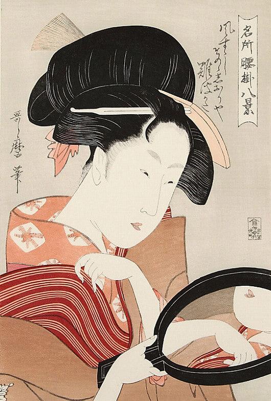 喜多川歌麿「名所腰掛八景 鏡」