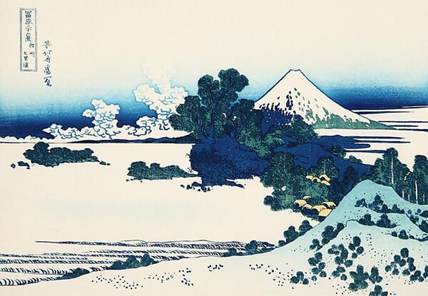 涼しげな藍刷りで仕上げた『相州七里ガ浜』(富嶽三十六景)